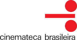 Cinemateca Brasileira's logo: in red, over a transparent background, aligned to the right of the image, two circles positioned vertically with a rectangle in between. The rectangle has width approximately three times the diameter of the circles, and height of about a quarter of the diameter. Below, the text 'cinemateca brasileira' centered and in black.