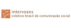 Intervozes's logo, orange over a white background: a square with rounded vertices, overlapped by arcs of circles of various widths; to the right, in two lines, with total height a bit smaller than the sqare's, the following text: 'intervozes' in the first line, and 'coletivo brasil de comunicação social' (Brazil social communication collective).